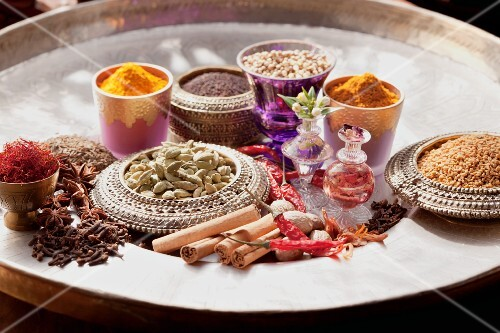 Various Indian spices on a tray
