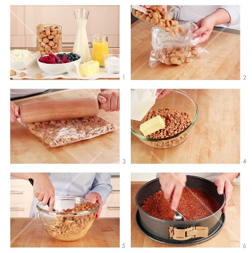 A biscuit base being made for a fridge cake