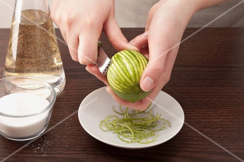 A lime being zested