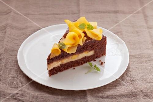 A slice of mango layer cake