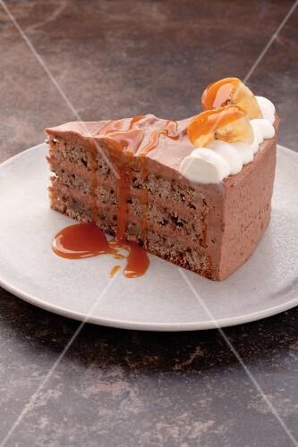 Banana and chocolate layer cake