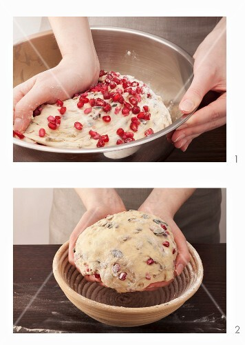 Bread dough with pomegranate seeds being prepared