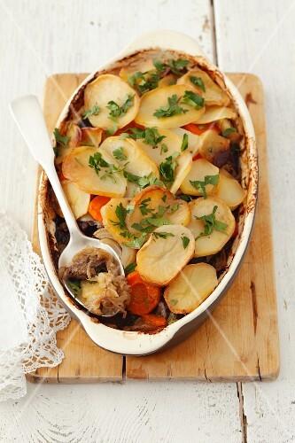 Potato bake with sauerkraut and mushrooms