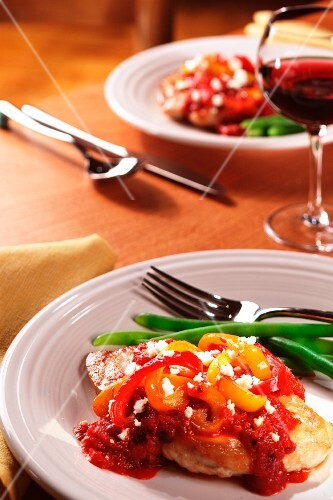 Chicken Breast with Tomato Sauce and Peppers; Side of Green Beans