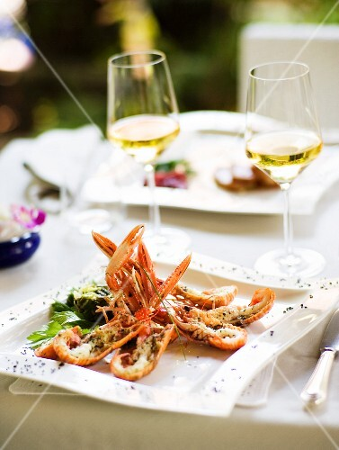Antipasto di scampi (a starter with langoustine, Italy)