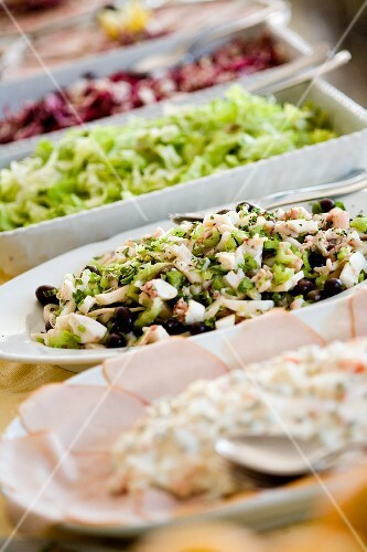 Starter buffet with a selection of salads