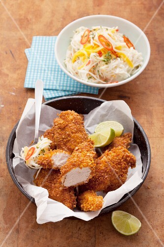 Turkey escalope with a cornflake crumb coating