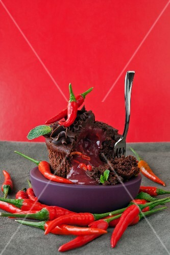 Chocolate cupcake with strawberry mousse and chillies