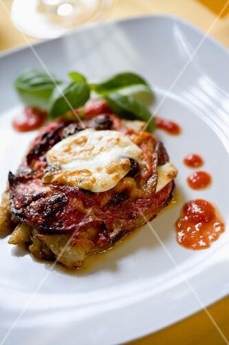 Parmigiana di melanzane (baked aubergine with mozzarella, Italy)