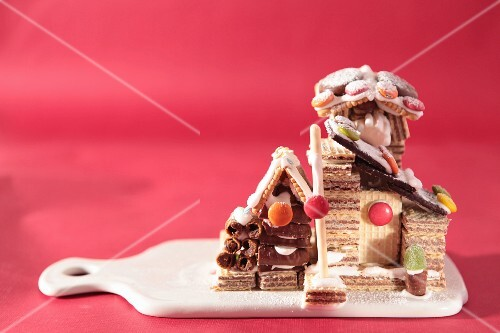 Cottages made with chocolate wafers