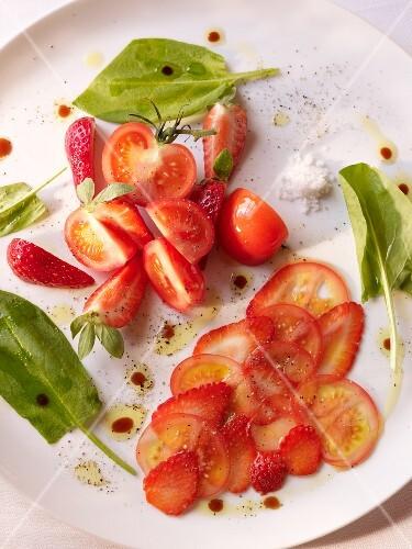 Tomato salad with strawberries
