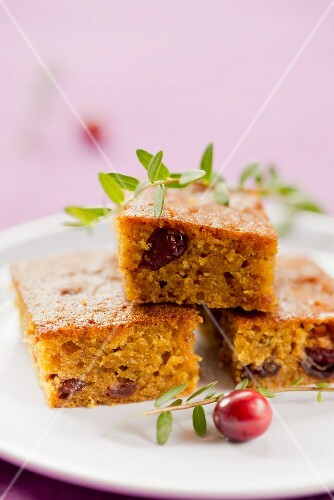 Three pieces of cranberry cake