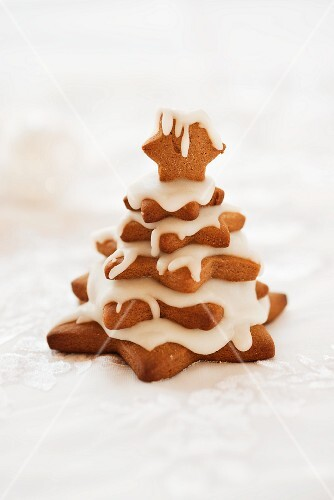 A Christmas tree made of biscuits