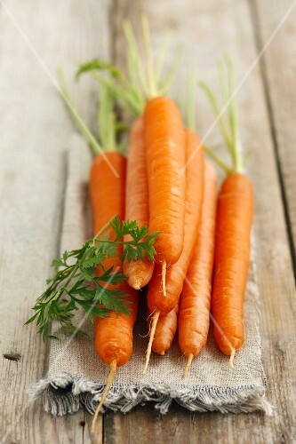 Fresh carrots on linen cloth