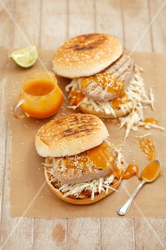 Tuna burgers with white coleslaw and mango mayonnaise