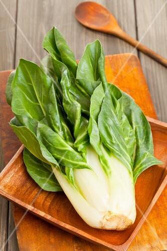 Fresh chard in a wooden dish