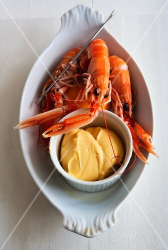 Boiled langoustines with dip