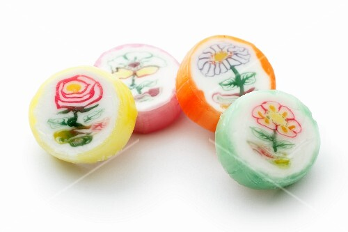Four sweets with a flower design