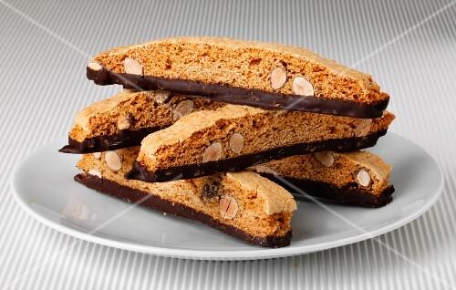 Cantucci al cioccolato (almond biscotti dipped in chocolate, Italy)