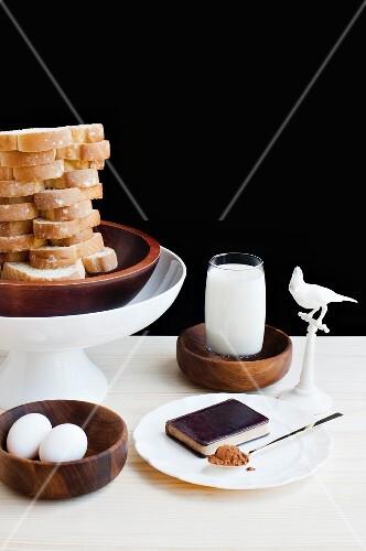 Breakfast ingredients: eggs, milk, bread