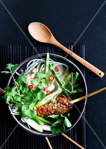 Rice noodle soup with pork, sprouts and coriander leaves (Vietnam)