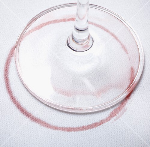 A red wine glass and stain