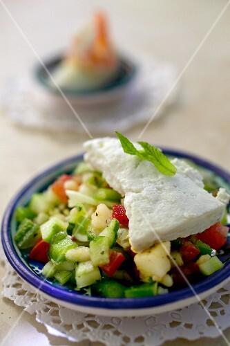 Vegetable salad with feta (Tunisia)