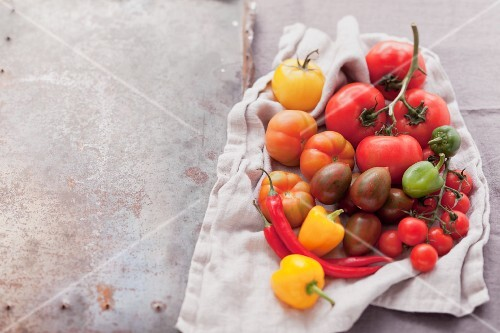An assortment of tomatoes and chillies on a cloth