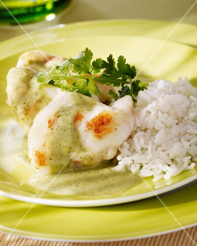 Monkfish with coriander and coconut sauce and rice