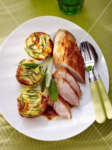 Fillet of pork with mini courgette clafoutis