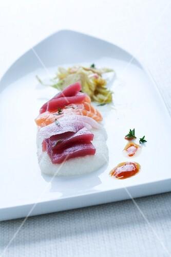 Weisse Polenta mit Sashimi