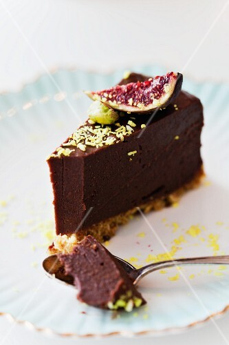A slice of truffle torte with figs