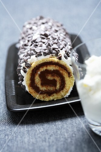 Nougat roulade with cream and chocolate chips