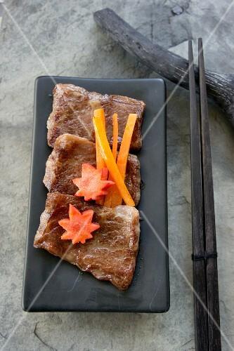 Wagyu beef, grilled on a steel plate (teppanyaki)
