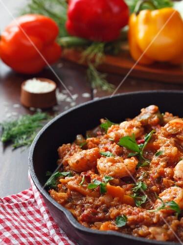 Jambalaya with Shrimp in a Cast Iron Skillet