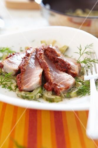 Marinated tuna with cucumber salad