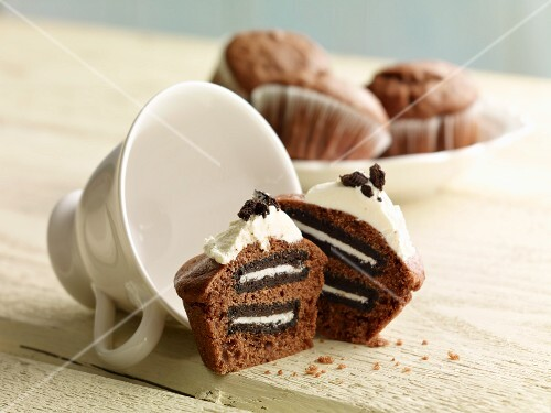 Cupcake filled with chocolate biscuits