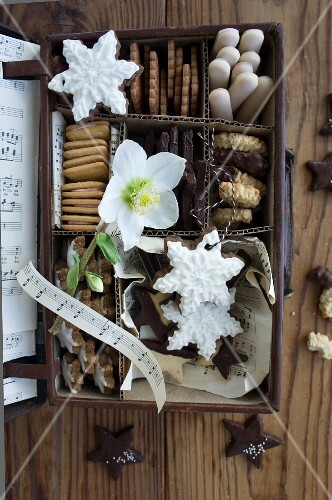 An assortment of Christmas biscuits in a small chest