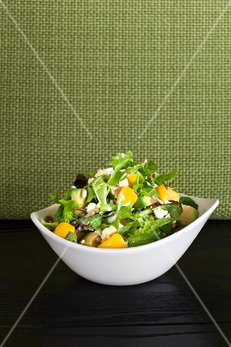 Mixed salad with avocado and mango