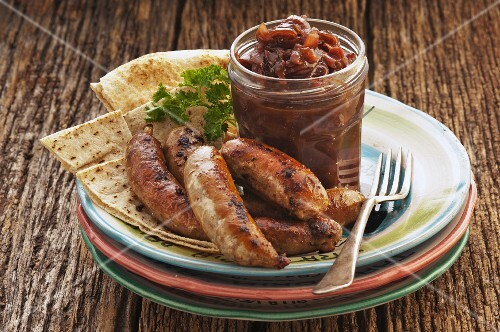 Fried sausages with onion relish