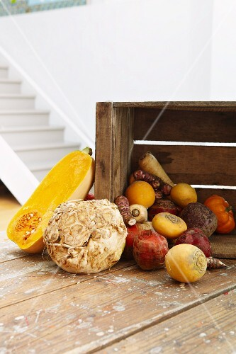 Assorted root vegetables and squash