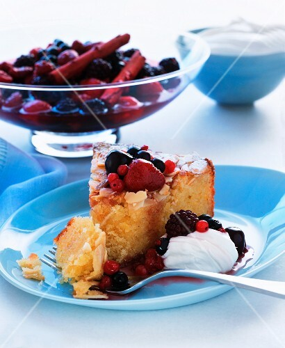 Almond cake with berry compote