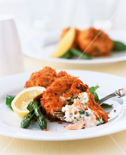 Salmon fritters with herbs and asparagus