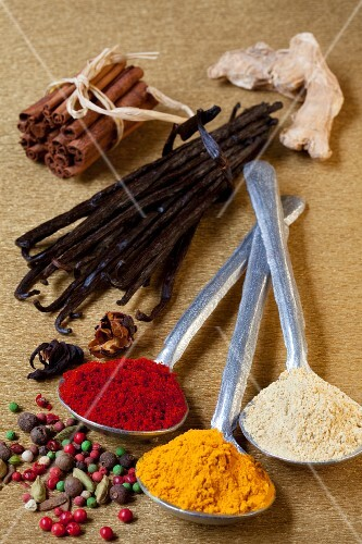Assorted spices, both whole spices and spoons full of ground spices