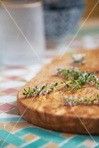 Fresh thyme on a chopping board