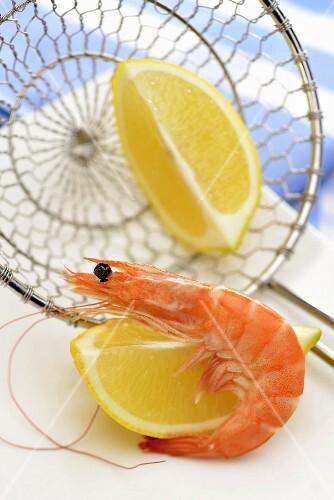 A prawn and lemon wedges
