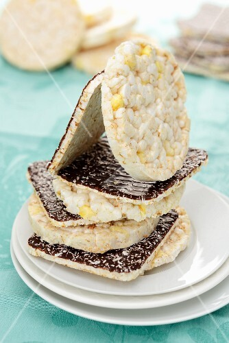A stack of rice cakes with chocolate coating