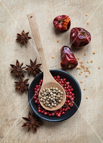 Red and white peppercorns, star anise and dried chilli peppers