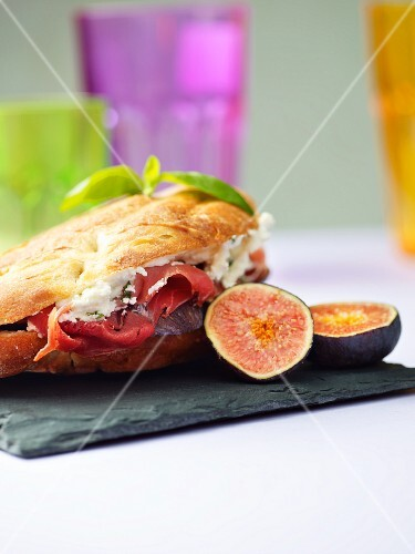 A ham and fig sandwich