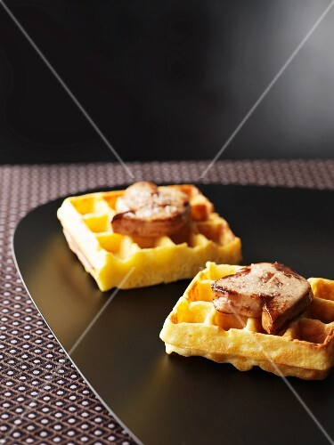 Waffles with truffle oil and goose liver
